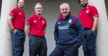 REPRO FREE***PRESS RELEASE NO REPRODUCTION FEE*** British & Irish Lions Coaching Team Announcement for 2017 Tour to New Zealand, Carton House, Co. Kildare 6/12/2016 WARREN GATLAND today announced the coaching team for the British & Irish Lions 2017 Tour to New Zealand. Steve Borthwick (England), Andy Farrell (Ireland) and Rob Howley (Wales) will assist Gatland for the 10-game Tour next June and July. The trio will work with their respective countries for the RBS 6 Nations before joining the Lions ahead of the Squad Announcement on April 19, 2017. The Lions Management Team will be announced in early January. Pictured (L-R) Coaches Steve Borthwick and Rob Howley, head coach Warren Gatland and coach Andy Farrell Mandatory Credit ©INPHO/Dan Sheridan